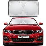 Magnelex Windshield Sunshade (Medium) for Compact Cars + Bonus Steering Wheel Sun Shade. Premium Quality Reflective Polyester