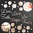 3D Acrylic Mirror Wall Decor Stickers DIY Faith Live Laugh Hope Love Family Mirror Wall Decor Solid Circle Mirror Wall Decal