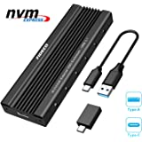 FIDECO USB3.1 SSDケース M.2 NVMe PCIE SSD (M-Key or B+M Keyのみ対応) ポータブル ハードドライブ エンクロージャ、 USB3.1 UASPサポート USB C + USB A インターフェース ネ