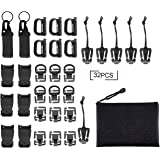 Fashionclubs 32pcs Tactical Molle Attachments Tactical Gear Clip Straps Set Molle Webbing Attachments for Tactical Backpack,