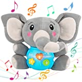 Aitbay Plush Elephant Music Baby Toys 0 3 6 9 12 Months, Cute Stuffed Aminal Light Up Baby Toys Newborn Baby Musical Toys for