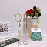 Jewelry Organizer,Solid Marble Gold T-Bar Necklace Display Stand Earrings Holder for Home with Marble Pattern Round Tray Jewe
