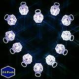 MIDAFON White Led Rings 24 Pack LED Light Up Diamond Bling Rings LED Glow Rings Light Up Flashing Rings Plastic Diamond Kids