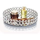 Feyarl Crystal Beads Cosmetic Round Tray Jewelry Organizer Mirrored Decorative(Silver)