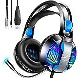 【2020新登場 7色変化LEDライト】 ゲーミングヘッドセット PC 高音質 有線 ps4 ヘッドセット 7色LEDラ…