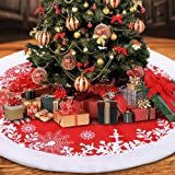 DYD Christmas Tree Skirt 48 Inches, Luxury White Red Christmas Tree Ornaments Tree Skirt with Snowflake Pattern for Christmas