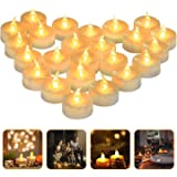 LED Light Tea Candles, 24 Electric Candles Party Decorations, Non-Toxic Smoke Free Non-Toxic Tea Light Long-Lasting Battery L