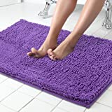 ITSOFT Non-Slip Shaggy Chenille Soft Microfibers Bathroom Rug with Water Absorbent, Machine Washable, 21 x 34 Inch Lilac