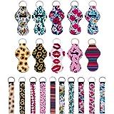 Vmorde 10 pcs Lip Balm/Chapstick Holder Keychain with 10 pcs Neoprene Wristlet Lanyards, Neoprene Lipstick Protective Cases C