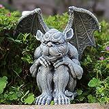 OwMell Gargoyle Statue Garden Guardian Sculpture Figurine Gothic Indoor Outdoor Garden Decor Statue, Sitting with Hands on Kn