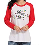DUDUVIE Let's Get Lit Christmas Shirts Women Funny Cute Light String Printing Tree Long Sleeve Tee Top Blouse White