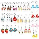 17 Pairs Cute Earrings Weird Earrings Set Mushroom Goldfish Water Bottle Gummy Bear Dangle Aesthetic Earrings Bulk