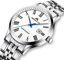 [メガリス]MEGALITH 腕時計 メンズ時計ステンレス アナログクオーツ防水腕時計 日付表示 おしゃれウオッチ ビジネス カジュアル ラグジュアリー メタル男性腕時計