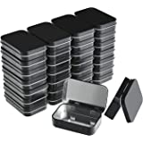 Aybloom Metal Rectangular Empty Hinged Tins - 30 Pack Black Mini Portable Box Containers Small Storage Kit & Home Organizer