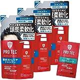 PRO TEC(プロテク) (医薬部外品) 頭皮ストレッチ シャンプー 詰め替え230g×3個+デオドラントソープ1回分おまけ付
