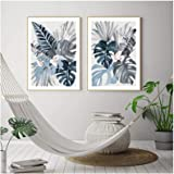 Art print Images Modern Floral Tropical Blue Palm Leaf Canvas Painting Wall Art Prints Picture for Living Room Bedroom Home D