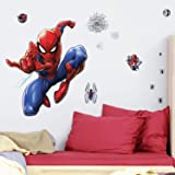RoomMates RMK4234GM Spider-Man Peel and Stick Wall Decals,Blue, Red, Black 27.36 inches x 33.61 inches