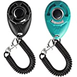 Winod Dog Training Clickers with Wrist Strap -2 Pack(Black +New Blue)