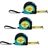 Where's My Tape Measure? - 3 Pack of 10 ft, Locking, Retractable Auto-Wind Measuring Tapes with Fractions. Accurate, Easy to