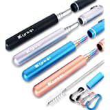 Kynup 4 Pack Reusable Collapsible Straw, Portable Stainless Steel Straws with Metal Case, Keychain, Cleaning Brushes, Silicon