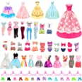 BARWA 16 Pack Doll Clothes and Accessories 5 PCS Fashion Dresses 5 Tops 5 Pants Outfits 3 PCS Wedding Gown Dresses 3 Sets Swi