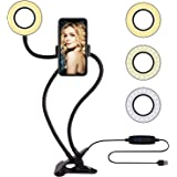 Selfie Ring Light with Cell Phone Holder Stand for Live Stream/Makeup, Amazer Tec LED Camera Lighting [3-Light Mode] [10-Leve