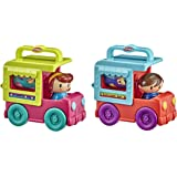 Playskool Fold 'n Roll Trucks Activity Toy Bundle of 2 Vehicles for Toddlers 12 Months and Up, Food Truck and Ice Cream Truck