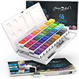 54 Watercolor Paint Set Complete Kit with 6 Colors Bonus Including 48 Premium Colors-15 Sheets of Paper Pad-6 Extra Colors-3