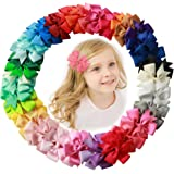 Fani 40 Pcs 3 inch Grosgrain Ribbon Pinwheel Boutique Hair Bows Clips For Baby Girls Teens Toddlers Kids Children with 40 Col