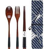 Wooden Cutlery Set Chopsticks Spoon Fork Set Travel Utensils Reusable Flatware for Home,Office,Travel,Outdoor Camping (Black)