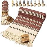 DEMMEX Oeko-TEX Certified 100% Organic Cotton & Organic Dye Prewashed XL Diamond Weave Turkish Towel Peshtemal Blanket for Ba