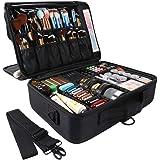 GZCZ 3 Layers Large Capacity Travel Professional Makeup Train Case Cosmetic Brush Organizer Portable Artist Storage bag 16.5