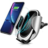 CREUSA Wireless Car Charger Mount, Automatic 10w Qi Fast Charging Car Phone Holder with Adjustable Coil Compatible for Samsun