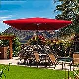 長方形のテラスのパラソル クランク付き屋外ガーデン軽量パラソル デッキとプールのマーケットテーブルの傘 マルチサイズ(ブルー/レッド)