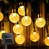 Solar String Lights Outdoor 60 Led 35.6 FT Crystal Globe Lights with 8 Lighting Modes, Waterproof Solar Powered Patio Lights