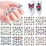 Macute Nail Decals Nail Art Stickers for Women & Girls Watermark Nail Art Designs Supplies Flower Rose Butterfly Chain Pendan