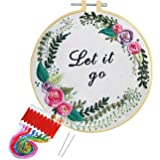 Artilife Embroidery Cross Stitch Kit Full Range of Embroidery Starter Kit with Patterned Aida Cloth Hoop Thread Floss Craft P