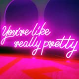 Large LED Neon Sign - 27.5inches You're Like Really Pretty Logo Pink Neon Light for Bachelorette Party Birthday Engagement Pa