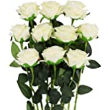 Artificial Silk Rose Flower Bouquet Wedding Party Home Decor Gift, Pack of 8 (Champagne)