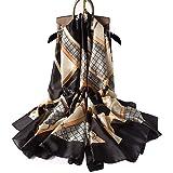 K-ELewon Silk Scarf Fashion Scarves 100% Silk Long Lightweight Sunscreen Shawls for Women