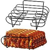 Rib Rack Grill Racks Pork Rib Rack BBQ for 2 Set Porcelain Coated Steel Roasting Stand for Grilling & Barbecuing