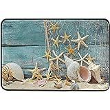 Kcldeci Seashell Starfish Doormat Indoor Door Mats 23.6 x 15.7 inch Summer Beach Ocean Coastal Floor Mats Entry Way Welcome D
