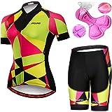 JPOJPO Women's Cycling Jersey,Bike Short Sleeve Padded Cycling Shorts Quick Dry