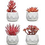 Set of 4 Desk Plants - Office Decor for Women Desk, Indoor, Living Room, Bedroom, Home and Desk Decor – Pink Faux Succulents