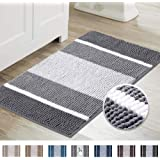 Super Cozy Chenille Microfiber Bathmat, Gradient Grey Stripe Pattern Soft Chenille Shaggy Rug for Bathroom, Slip-Resistant Ab