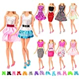 Barwa 5 Sets Fashion Wear Clothes Dresses with 10 Pairs Shoes Random Style for 30 cm 11.5 INCH Doll