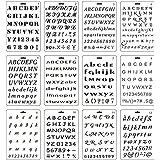 Copeflap ステンシルシート 12枚組 ステンシル 手帳 テンプレート ステンシルプレート アルファベット 数字 文字 描画 (アルファベット)