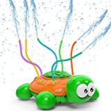 Kiztoys Outdoor Water Spray Sprinkler for Kids and Toddlers Backyard Spinning Turtle Sprinkler Toy Wiggle Tubes Splashing Fun