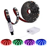 Led Strip Lights Battery Powered,abtong RGB Led Lights Strip with Mini Controller Waterproof Led Strip Rope Lights Battery Le