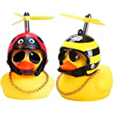 wonuu Car Duck, Rubber Duck Car Decorations, Dashboard Toy 2Pack Small Duck Ornaments with Propellers Glasses Gold Chain